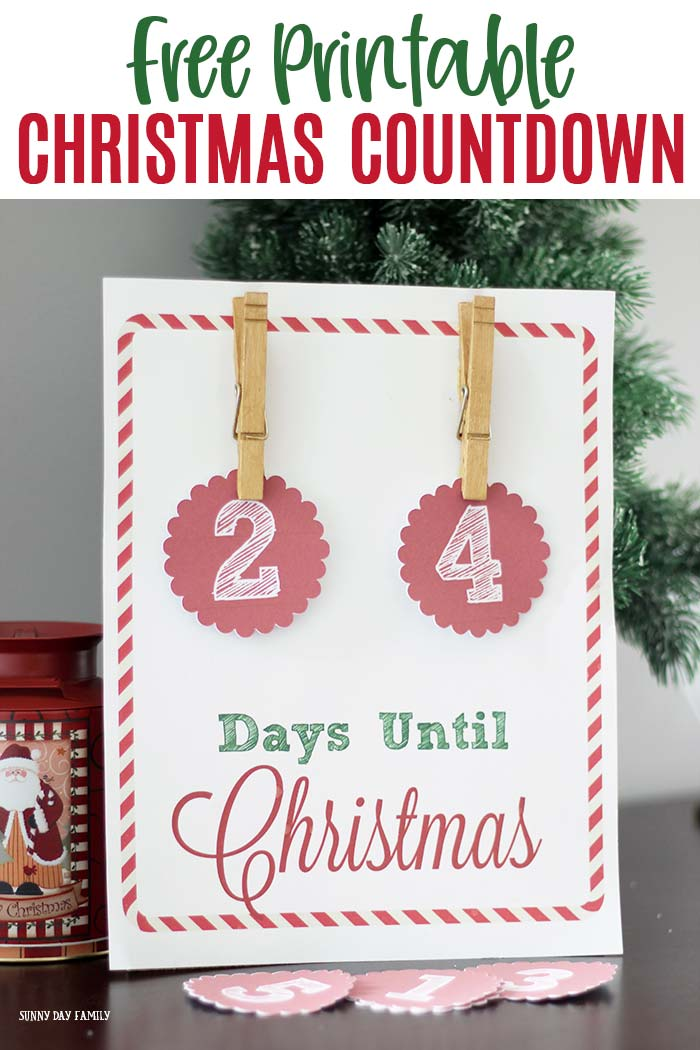 Days Until Christmas Countdown.Free Christmas Countdown Printable Sign Sunny Day Family