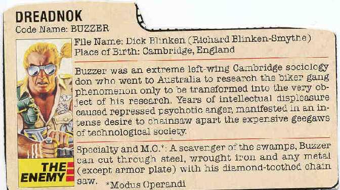 1985 Buzzer, Dreadnok, Ripper, Torch, Variant Filecard