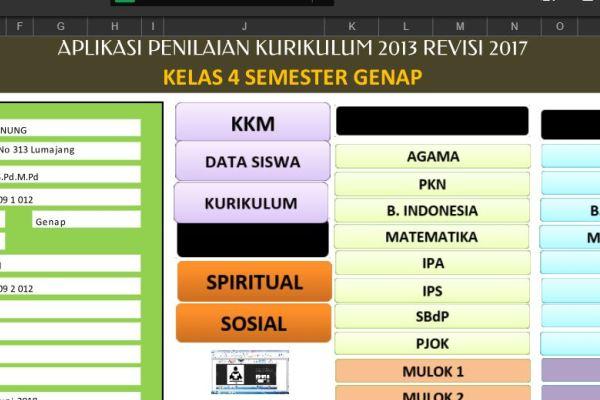 Aplikasi Penilaian Raport K13 Kelas 4 Semester 2
