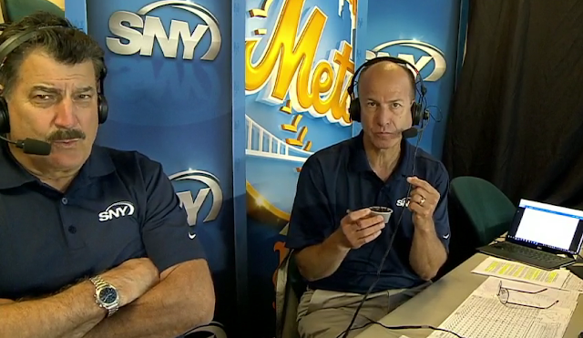 Mets announcer Gary Cohen tries toasted grasshoppers