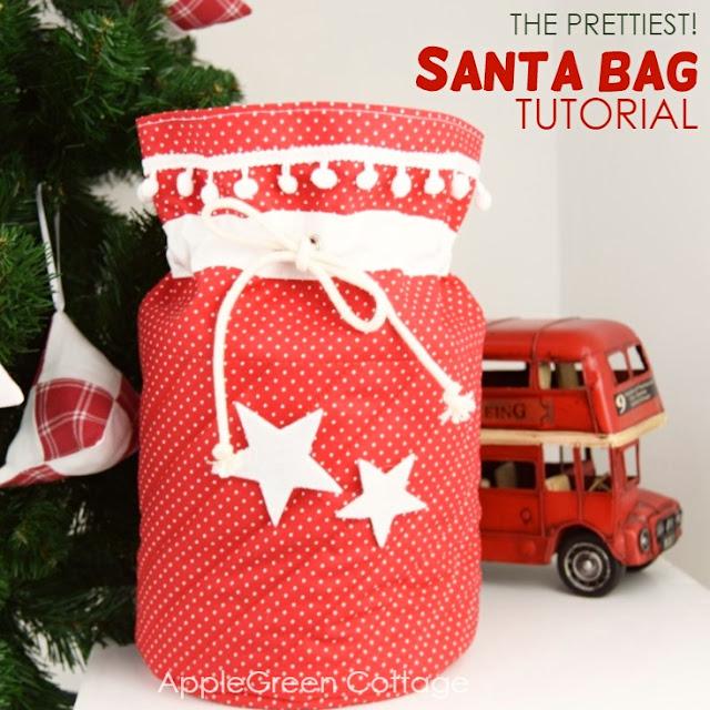 Santa bag - the prettiest Santa sack to sew