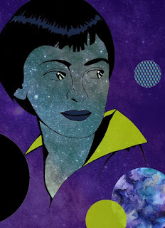 A minimalist style image of a woman looking over her shoulder to her right. The background and her shirt are a warm purple, and her collar is yellow. Her hair and eyebrows are black, and her eyes reflect stars. Her skin is a pattern of stars in the galaxy. In the foreground and background are circles indicating abstract figures of planets.