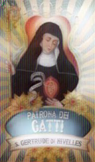 Estampa de Gertrudis de Nivelles, Patrona de los Gatos