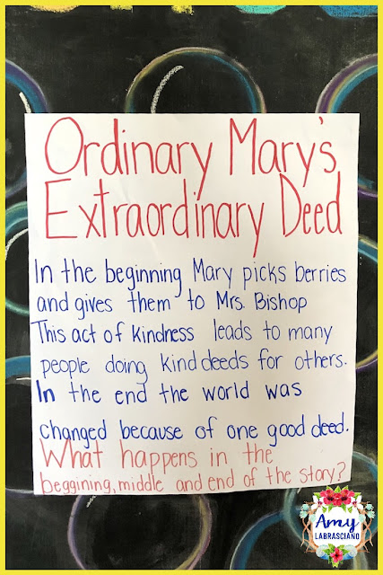 Click here to find ideas for teaching retelling and random acts of kindness.  Included are ideas and  an anchor chart for the very engaging book Ordinary Mary's Extraordinary Deed.  Get your back to school plans ready.   Perfect for elementary classrooms and homeschool children.  {kindergarten, first, second, third, fourth, fifth, k, 1st, 2nd, 3rd, 4th and 5th}