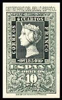 Filatelia - Centenario del Sello español (1950) - Valor de 10 pesetas