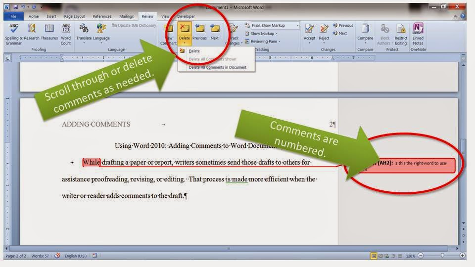 A print screen of a Word 2010 document with added comments.