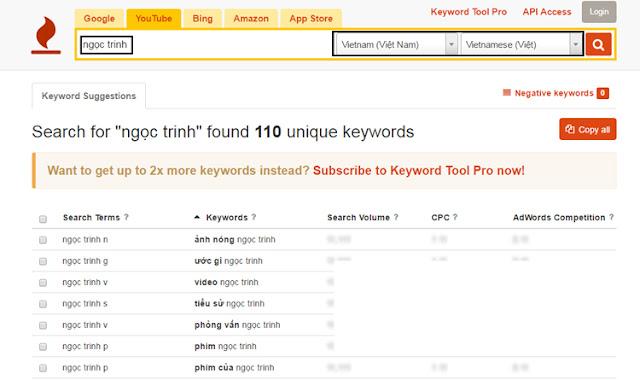 Nghiên cứu từ khóa Youtube bằng keywordtool.io