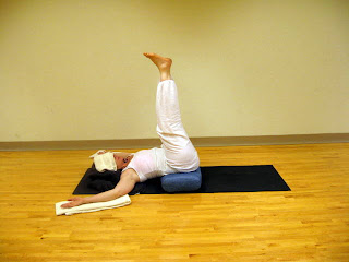 slow  flow restorative yoga pose 1 legs up the wall