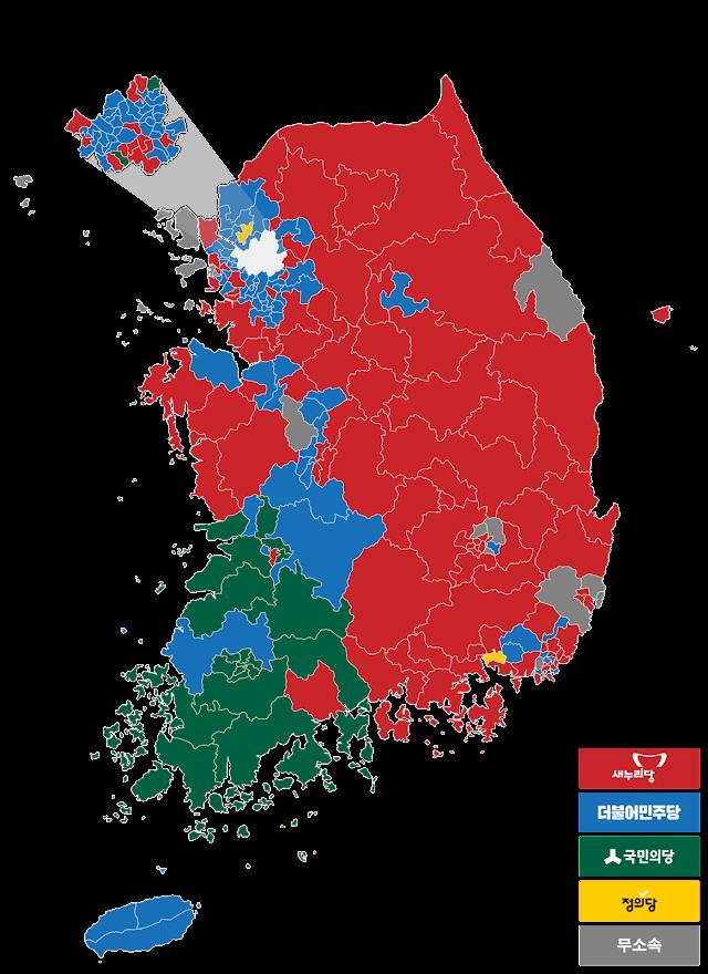 Mapa del resultado de las elecciones parlamentarias de 2016 en Corea del Sur