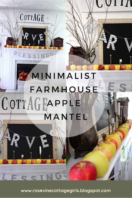 Photo of a collage of pictures of a mantle with Cottage sign, Harvest sign, blessings sign, red mailbox and bar with apples and candles | Minimalist Farmhouse Apple Mantel | rosevinecottagegirls.com