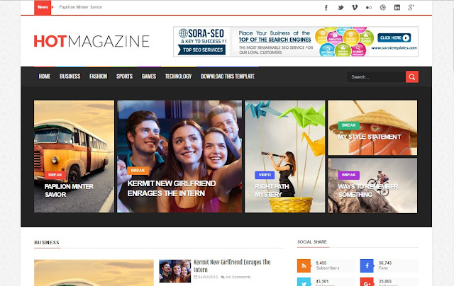Hot Magazine Free Blogger Template