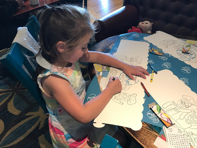 colouring in at pizza party