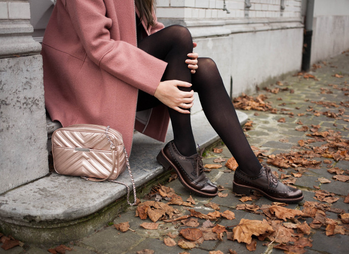 Outfit: pink cocoon coat and brogues