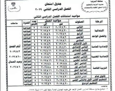 جدول امتحانات محافظة الشرقية جميع المراحل التعليمية ,الفصل الدراسى الثاني