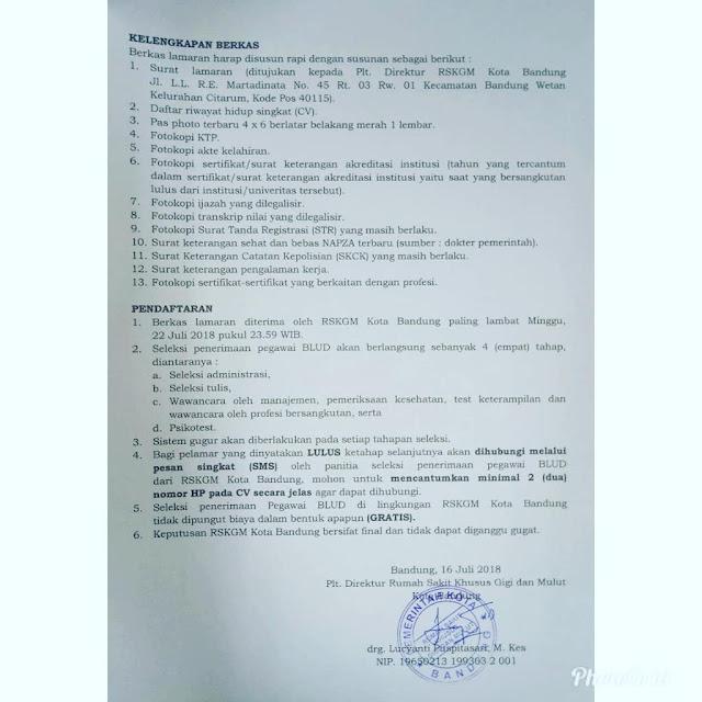 Lowongan Kerja RSKGM Kota Bandung Tahun 2018