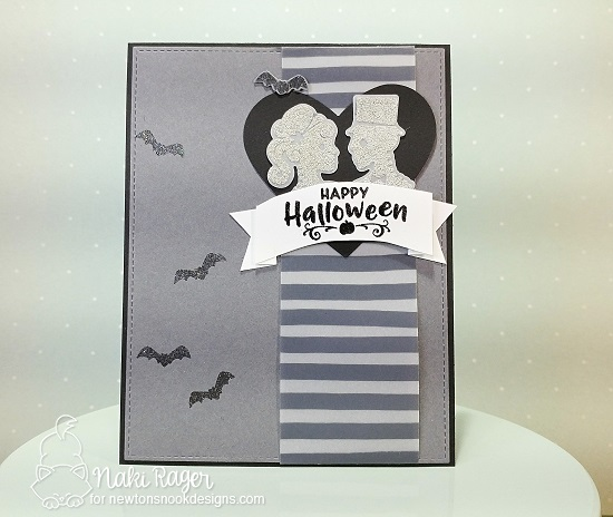 Halloween card by Naki Rager  | Creepy Cameos Halloween Stamp Set by Newton's Nook Designs #newtonsnook #handmade