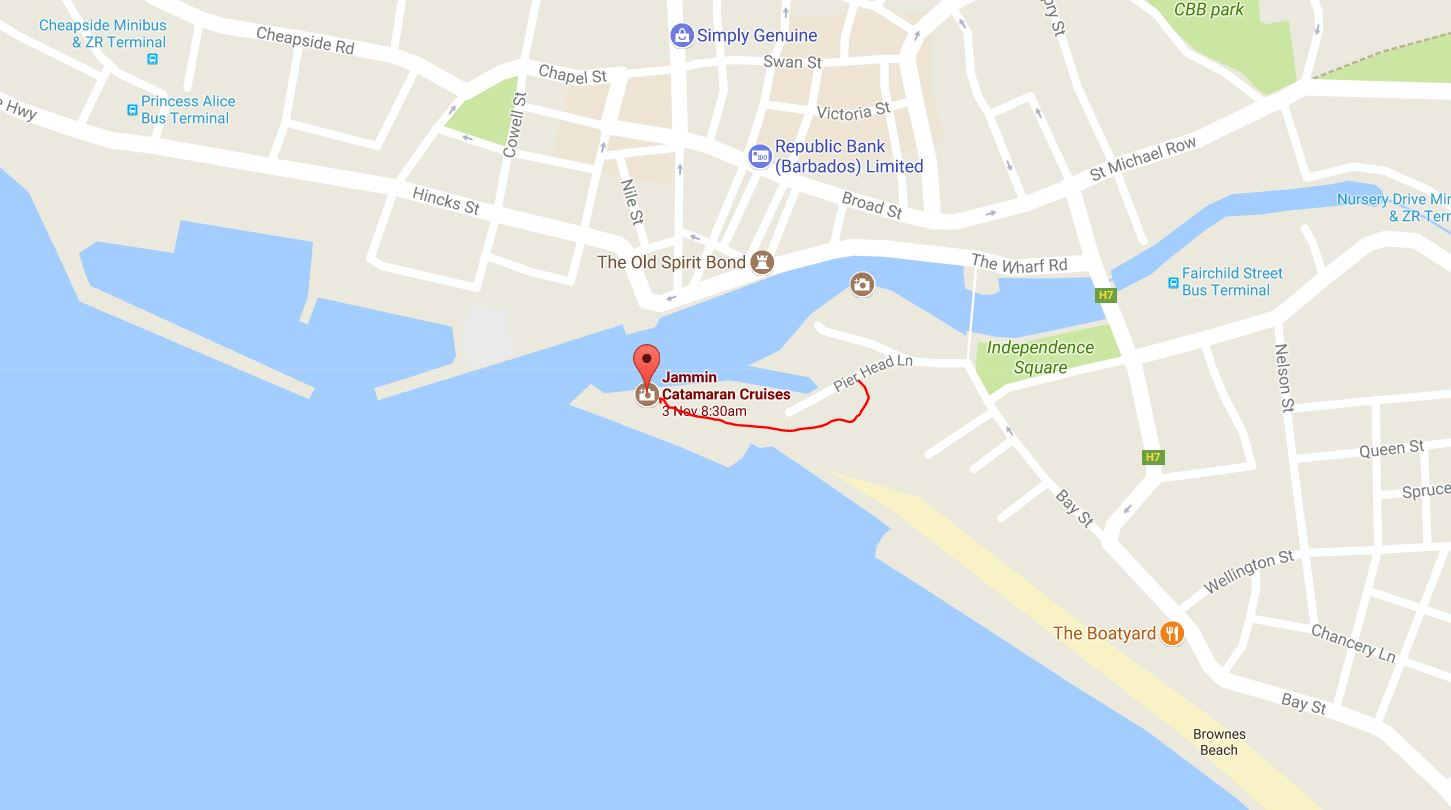 Travel with kevin and ruth a blast on the jammin barbados heres a map if youre walking you need to enter through the parking lot at pier head lane publicscrutiny Choice Image