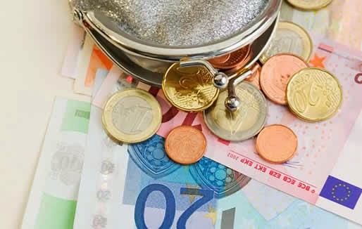 Notas e moedas em euro