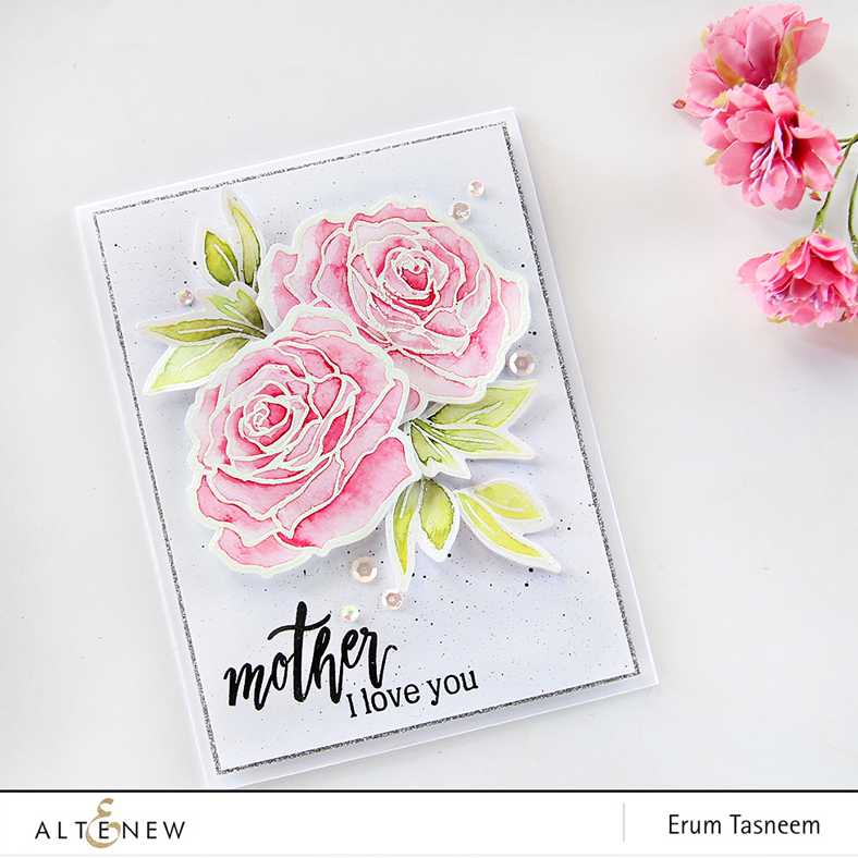 Altenew Penned Rose stamp set watercoloured by Erum Tasneem. @pr0digy0