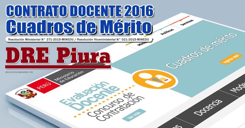 DRE Piura: Cuadros de Mérito para Contrato Docente 2016 (Resultados 22 Enero) - www.drep.gob.pe