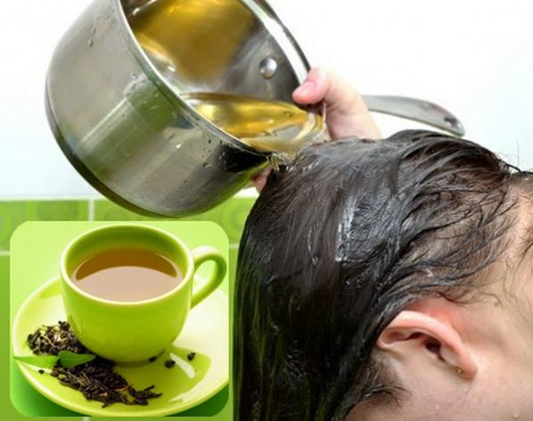 bilas rambut dengan teh