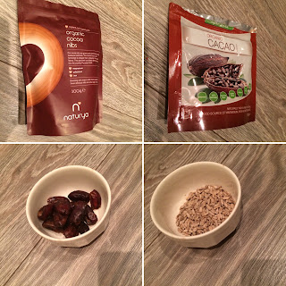 Organic coco nibs, organic cacao powder, sunflower seeds, dates