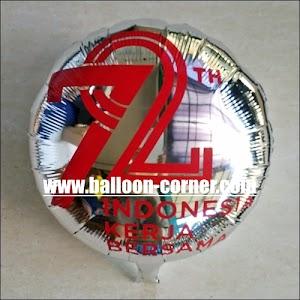 """Balon Foil Bulat """"72 TAHUN INDONESIA KERJA BERSAMA"""" (Special Edition)"""
