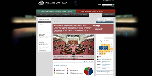 Screenshot of Australian Senate website