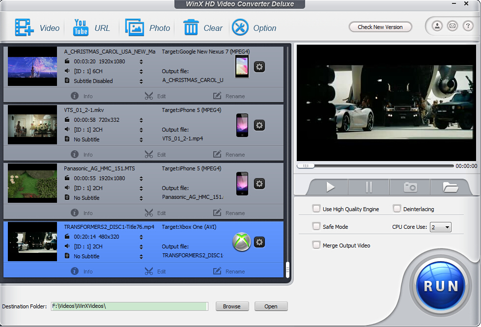 WinX HD Video Converter Deluxe interface screenshot