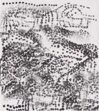 Gambar Teknik Sketsa Murni goresan tinta Oi menggunakan cotton bud di atas kertas