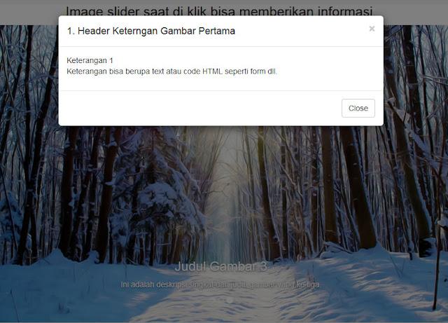 Membuat image slider saat di klik bisa memberikan informasi