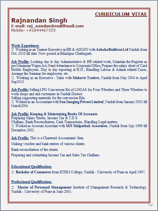 sle resume for mba hr experienced.html