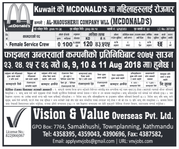 Jobs in Kuwait for Nepali, Salary Rs 43,525