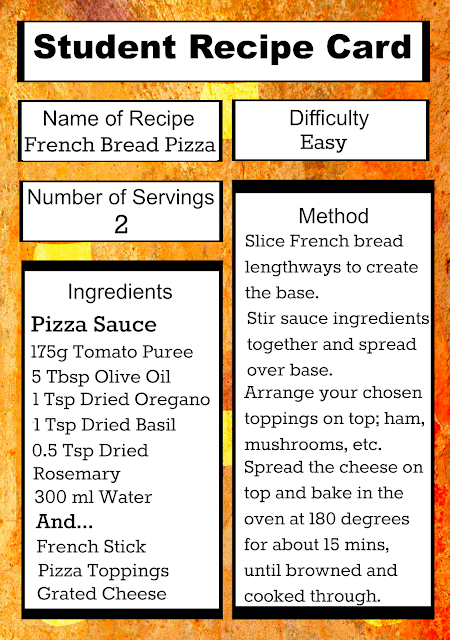 Easy French Bread Pizza recipe card for students, with just a few cheap ingredients and not much time!