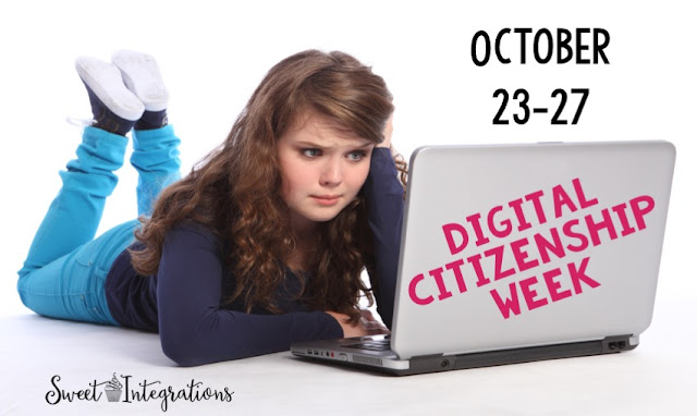 "Here a girl sits at her computer which says ""Digital Citizenship Week"" - where she is celebrate digital learning week."