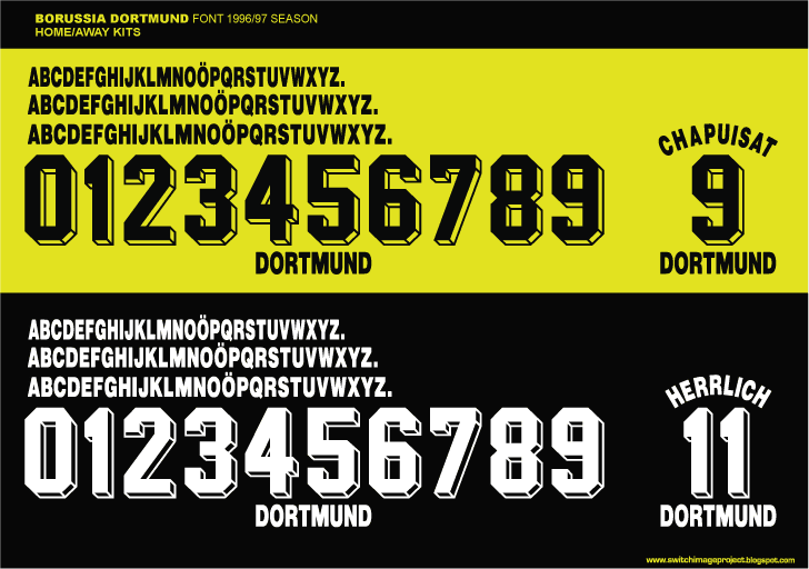 4da11f097 Bundesliga team Boruusia Dortmund 1996-97 season players nameset font  style. The numbers with the 3d block style