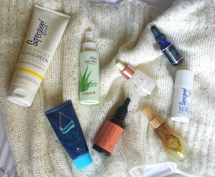 My Winter Skincare Routine for Combination Dehydrated Skin, josie maran pure argan milk, mizon ultra suboon cream, josie maran argan oil review, skinfood aloe sun mist and physicians formula 2 in 1 argan wear argan oil and coconut water primer review