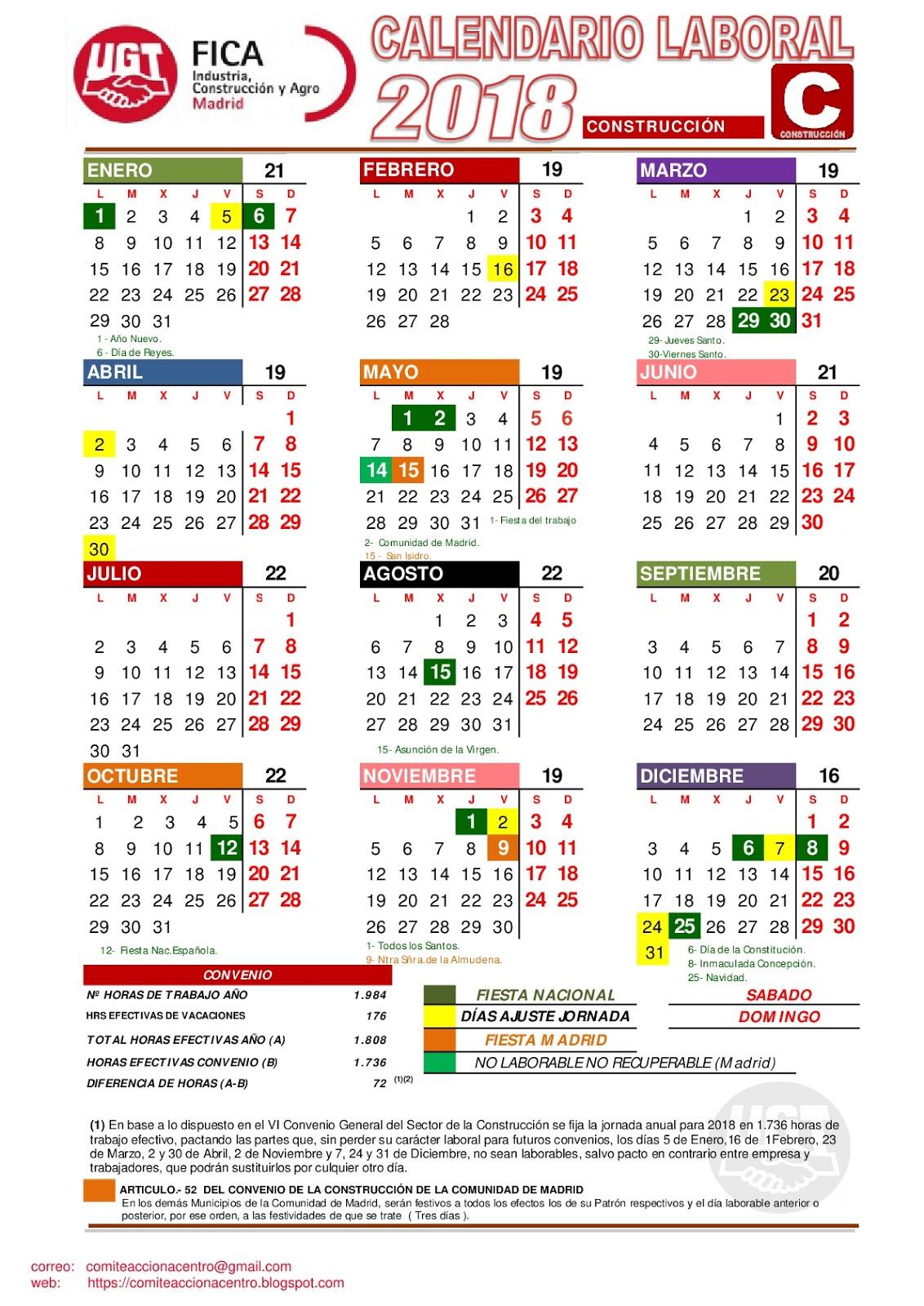Calendario Laboral De La Construccion 2019.Comite Acciona Centro Calendario Laboral 2018 Construccion Madrid