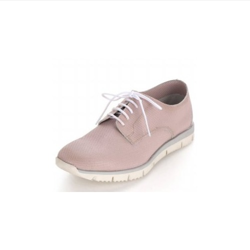 Pink Leather Lace-Up Sneakers