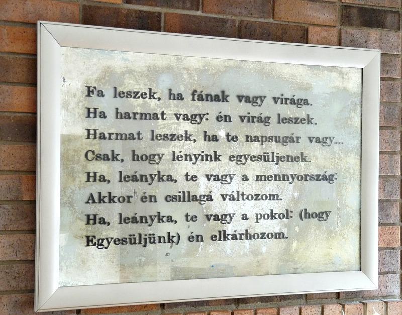 Poem stenciled on antique mirror
