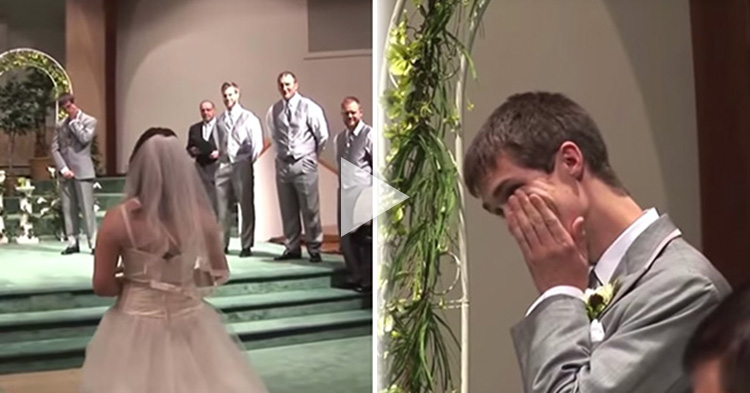 Bride surprises Groom while singing and walking down the aisle