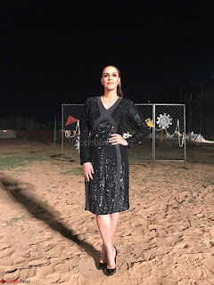 Neha Dhupia in Rohit Gandhi Rahul Khanna dress, Dior earrings (1) ~ .jpeg