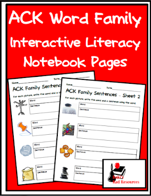 Free differentiated ACK sentences pages for your interactive literacy notebooks from Raki's Rad Resources.