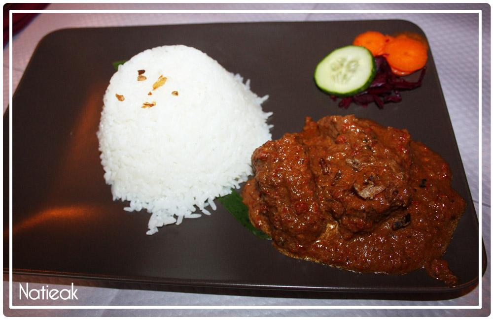 Rendang  boeuf mijoté sauce coco