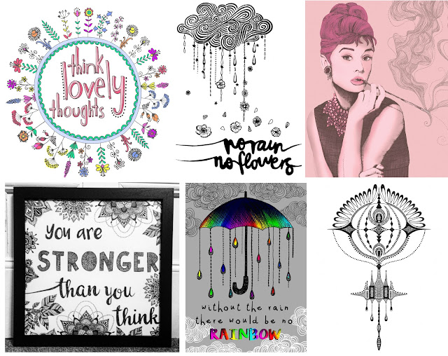 textilecandy, Textile Candy, www.textilecandy.com, think lovely thoughts, no rain no flowers, illustration, quote artwork, wall decor, wall quote, audrey hepburn art, audrey hepburn poster, audrey illustration, strength quote, illustrated quote, you are stronger than you think, rainbow umberella, crop circle illustration,