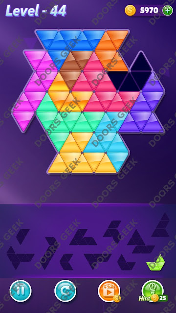 Block! Triangle Puzzle Challenger Level 44 Solution, Cheats, Walkthrough for Android, iPhone, iPad and iPod