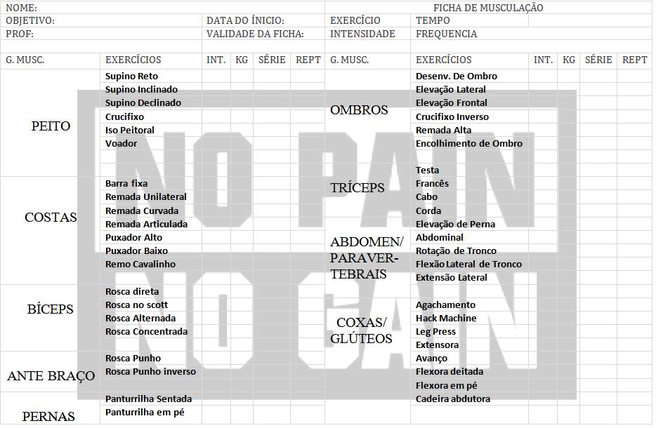 Ficha de Treinamento para Musculação download