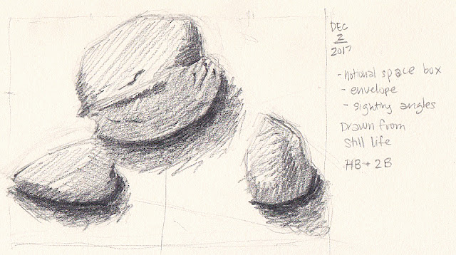 Daily Art 12-2-17 still life sketch in graphite number 50 - walnut and almonds