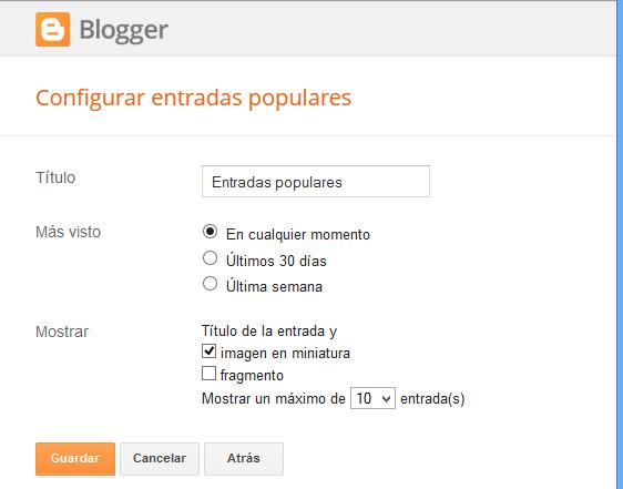 Cómo cambiar de estilos a mis entradas populares de Blogger