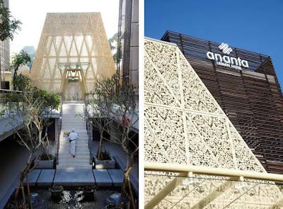 krawangan GRC motif patra ukiran Bali pada atap lobby hotel Ananta Legian Bali
